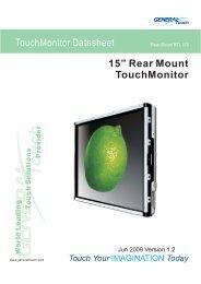"15"" Rear Mount TouchMonitor TouchMonitor Datasheet - Barcitronic"