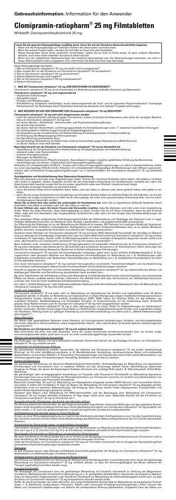 Clomipramin-ratiopharm® 25 mg Filmtabletten - pharma-fuchs.de