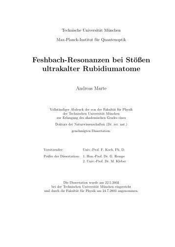Feshbach-Resonanzen bei Stößen ultrakalter Rubidiumatome