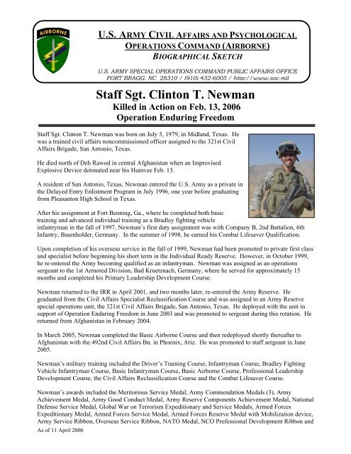 SSG Clinton T  Newman - U S  Army Special Operations Command