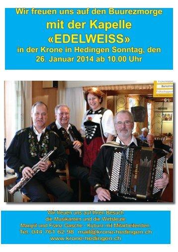 mit der Kapelle «EDELWEISS» - Krone Hedingen