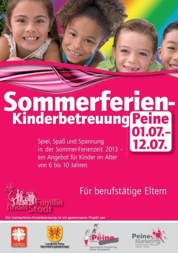 Handzettel zur Kinderferienbetreuung 2013 - Peine Marketing GmbH