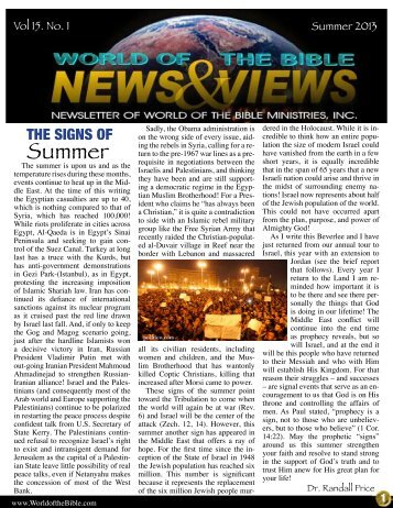 Summer 2013 Newsletter - World of the Bible Ministries