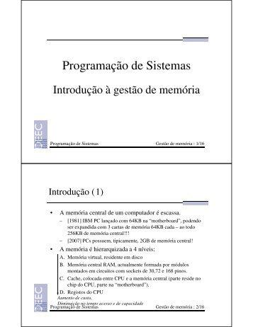Introdução à gestão de memória - Área Computadores
