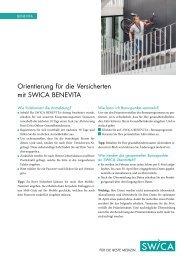 Orientierung für die Versicherten mit SWICA BENEVITA