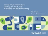 Scaling Virtual Infrastructure: Planning for Growth, High ... - VMware