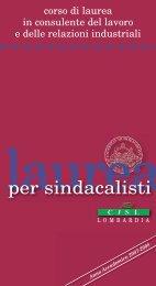 corso di laurea in consulente del lavoro e delle ... - Cisl Lombardia
