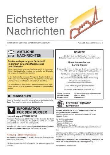 25. Oktober 2013 - Gemeinde Eichstetten
