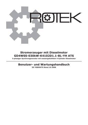Stromerzeuger mit Dieselmotor GD4WSS-030kW-K4102D1 ... - Rotek