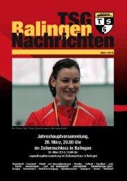 TSG Balingen Nachrichten 2014