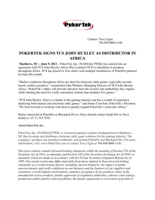 pokertek signs tcs john huxley as distributor in africa