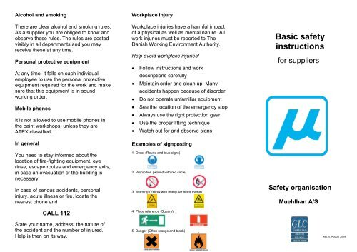 Basic safety instructions for suppliers - Folder - Muehlhan