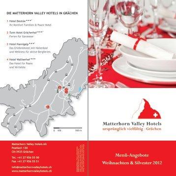 Menü-Angebote Weihnachten & Silvester 2012 - Matterhorn Valley ...