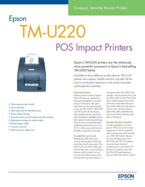Epson Tm U220 Pos Receipt Printer Brochure Office Printers