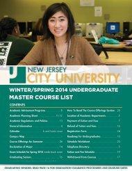 MASTER COURSE LIST - New Jersey City University