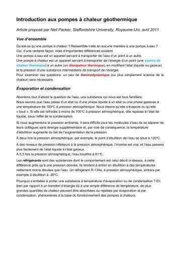 Introduction aux pompes à chaleur géothermique - RETS Project