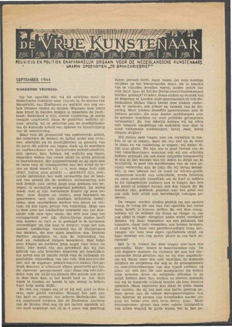 De Vrije Kunstenaar (september 1944) - Vakbeweging in de oorlog