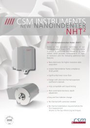 Table Top Nanoindentation Tester (TTX-NHT 2 ) - CSM Instruments