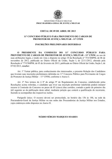 Relação de Inscrições Deferidas - MPM
