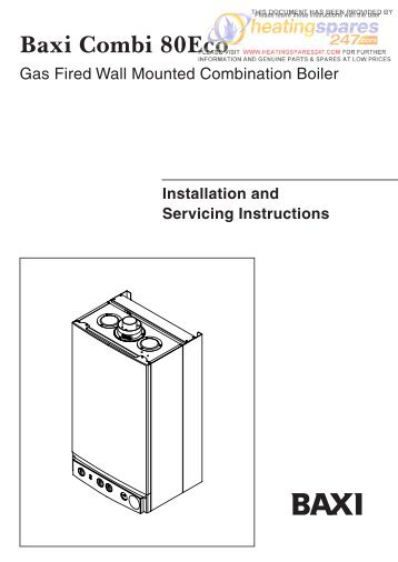 Baxi combi instant 80e installation & servicing instructions.