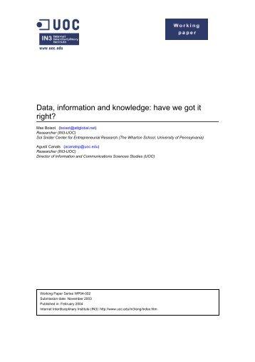 Data, information and knowledge - Universitat Oberta de Catalunya
