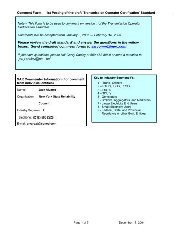 Transmission Operator Certification Standards Comment Form