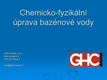 Chemická úprava bazénové vody - GHC Invest