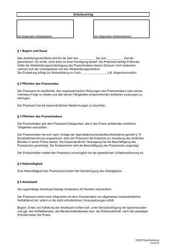 Arbeitsvertrag Muster Sprechstunde Infode