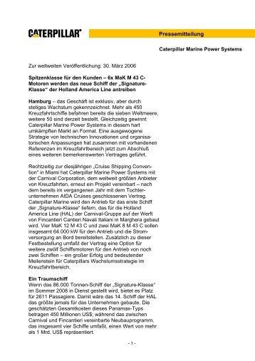 Pressemitteilung - Marine Engines Caterpillar