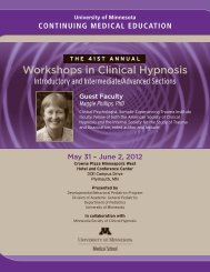 Workshops in Clinical Hypnosis - University of Minnesota ...