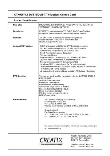 CTX925 V.1 Dvb-S/Dvb-T/Tv/Modem Combo Card - CREATIX