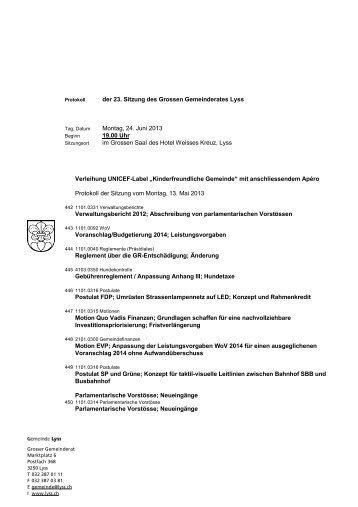 der 23. Sitzung des Grossen Gemeinderates Lyss ... - Gemeinde Lyss