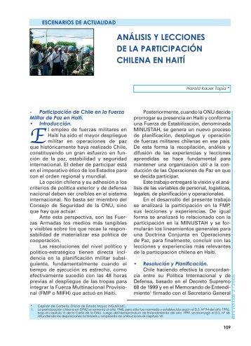 análisis y lecciones de la participación chilena ... - Revista de Marina