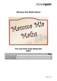 Mamma Mia Maths Show Pre and Post Visit Materials 2007