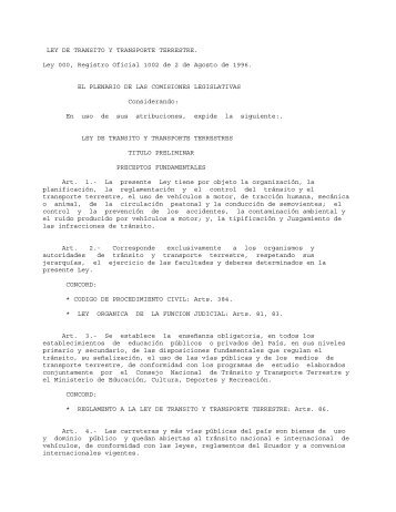 Ley de Tránsito y Transporte Terrestre - OAS