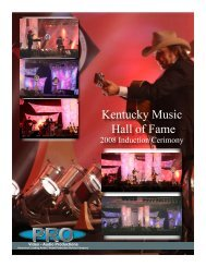 Kentucky Music Hall of Fame - Pro Video / Audio Productions