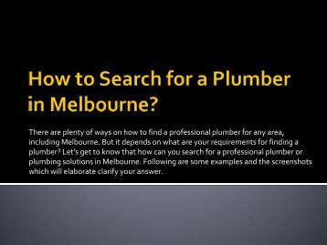 How to Search for a Plumber in Melbourne