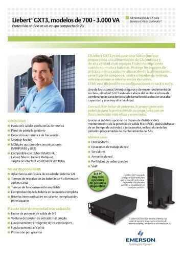Liebert® GXT3, modelos de 700 - 3.000 VA - Aryan Comunicaciones
