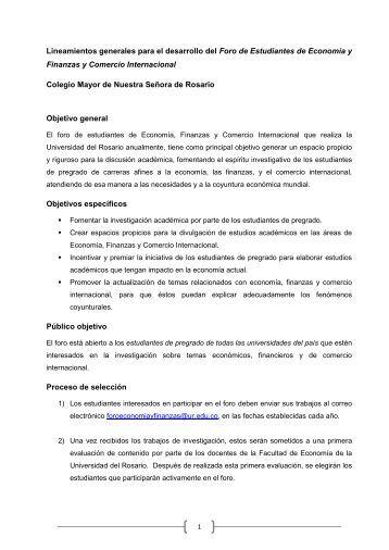 Lineamientos generales para el desarrollo del Foro de Estudiantes ...