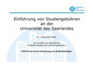 Implementation of Tuition Fees at Universität des Saarlandes