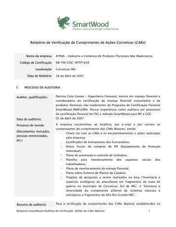 Relatório de Verificação de Cumprimento de Ações Corretivas (CARs)