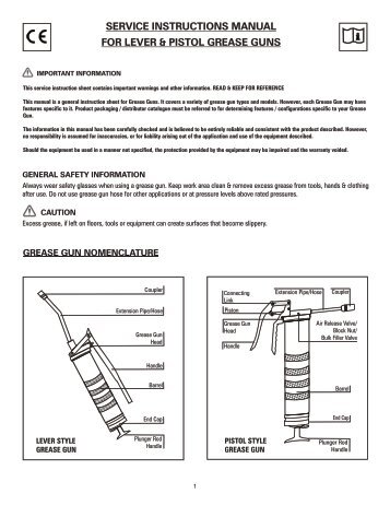 Operating Instructions Two Hand Grease Gun Pressol