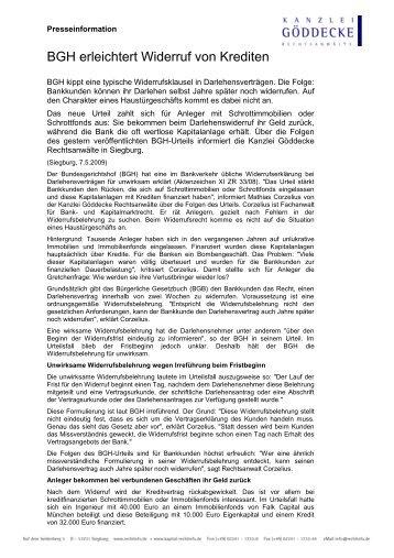 BGH erleichtert Widerruf von Krediten - KAPITAL-RECHTINFO.de