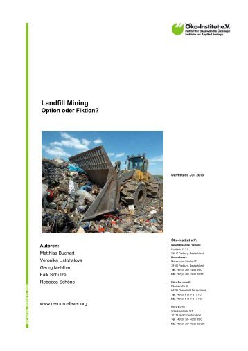 Landfill Mining - Option oder Fiktion? - Öko-Institut eV