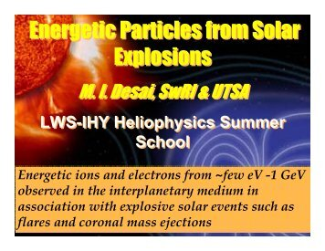 Energetic Particles from Solar Explosions - VSP | UCAR Visiting ...