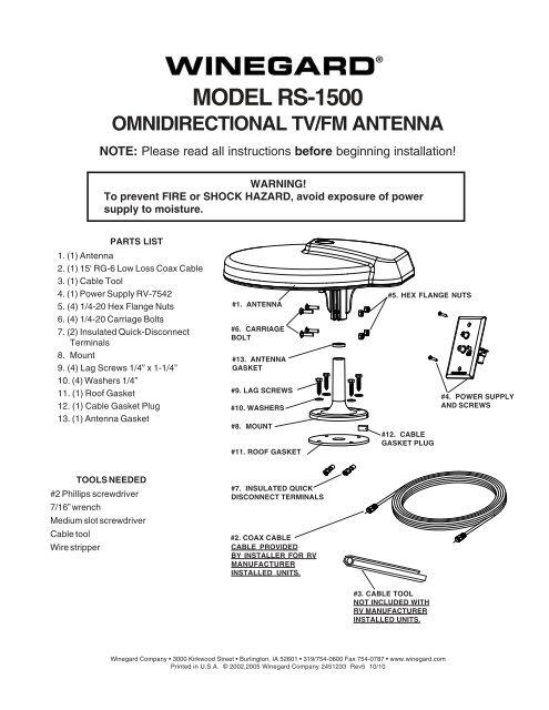 RS-1500 Manual - Winegard