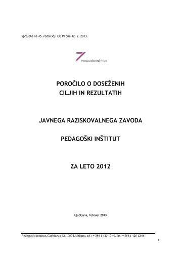 Letno poročilo o delu - Pedagoški inštitut