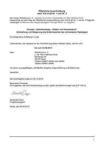 Öffentliche Ausschreibung nach VOL/A §3 Nr. 1 und Nr. 2