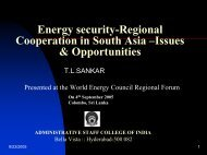 Energy security-Regional Cooperation in South Asia - World Energy ...