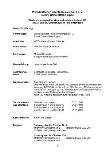 Ausschreibung - WTTV Bezirk Ostwestfalen-Lippe